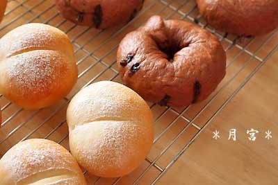 白パン・チョコベーグル